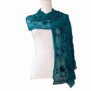 Teal floral beaded scarf unbranded